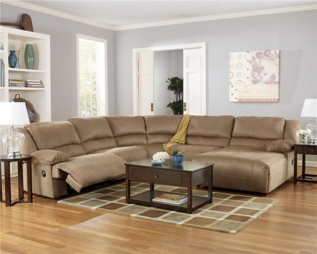 5 Piece Sectional Sofa With Chaise Ashley Furniture Hogan Mocha Picture 04