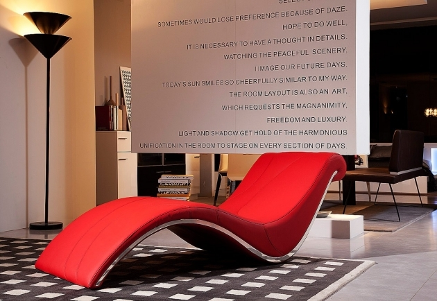 Bold Leather Chaise Lounge Chair With Curves Design Combined Red Leather Materials And Chrome Metal Frames Photos 76