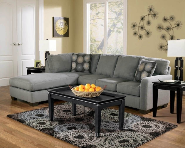 Charcoal Gray Sectional Sofa With Chaise Lounge Living Room Furniture Small Combined With Black Wooden Glass Top Coffee Table Photo 04
