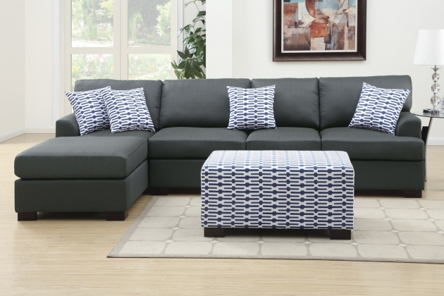 Charcoal Gray Sectional Sofa With Chaise Lounge Modern Small Living Room And Ottoman  Pic 78