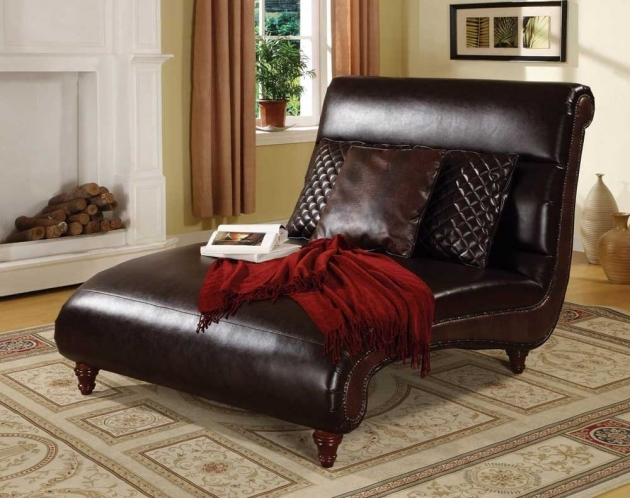 Double Leather Chaise Lounge Chair Indoor Furniture Images 74