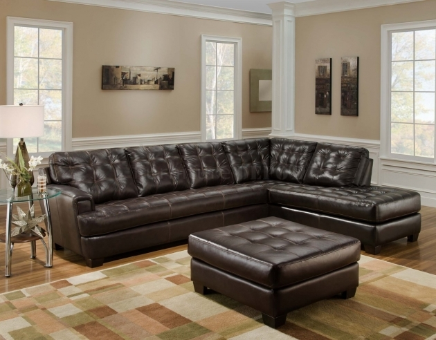 Furniture Dark Brown Leather Sectional With Tufted Sectional Chaise Lounge Sofa With Ottoman Table In Living Room Pictures 13