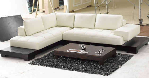 Modern Chaise Sofa With Black Wooden Furniture White Leather Low Profile Sectional Chaise Lounge Sofa Bed Photos 70