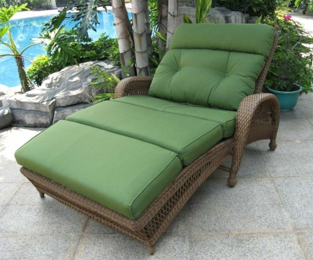 Patio Chaise Lounge Green Double Outdoor  Pics 17