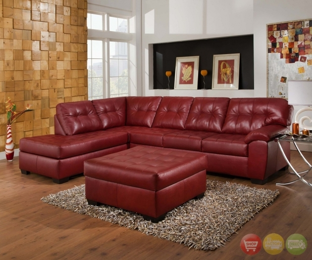 Red Bonded Leather Sectional With Left Chaise Sofa Image 36