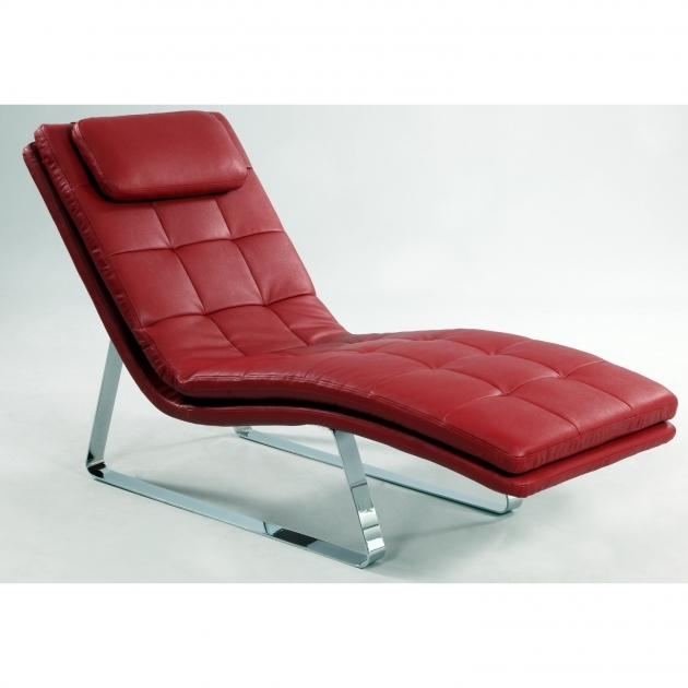 Red Leather Chaise Lounge Chair Photo 02