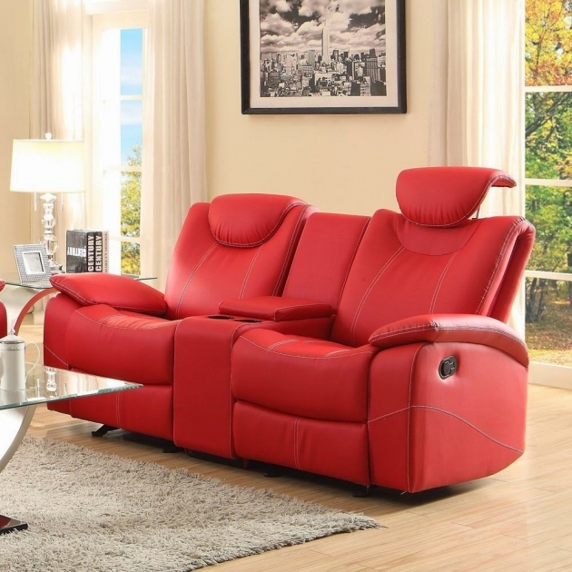 Red Leather Chaise Lounge Reclining Sofa  Pic 87