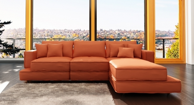 Sofa With Chaise Lounge Furniture Modern L Shaped Vinyl Orange Sofa On Open Sunroom Furnishing Decors Photo 72