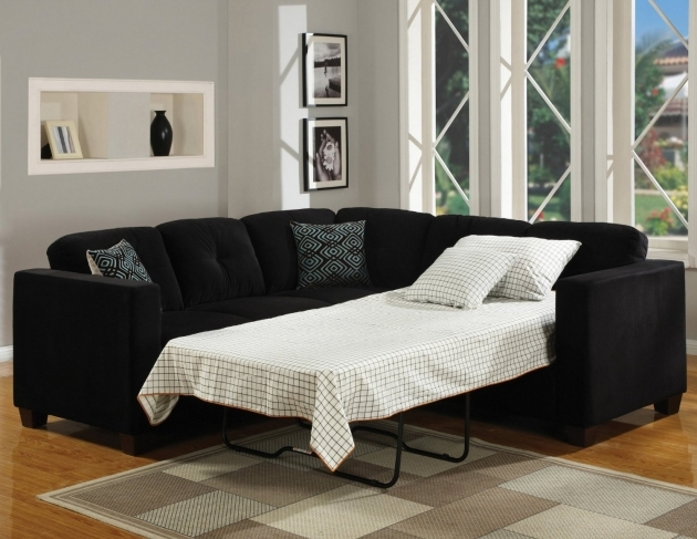 Stunning Sleeper Sofa Sectional With Chaise Furniture Beautiful Black Color Metal Bed Frames Also Plaid Pattern White Color Bedding Sheet Pictures 03