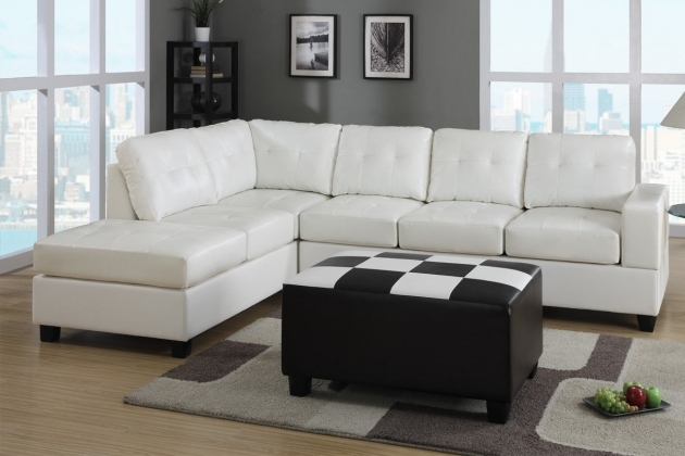 White Leather Sectional With Chaise And Black  Picture 34