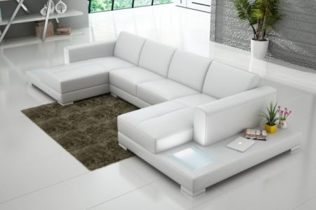 White Leather Sectional with Chaise