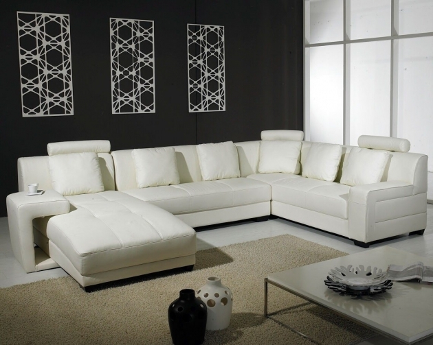 Best White Genuine Leather Sectional With Chaise Images 47