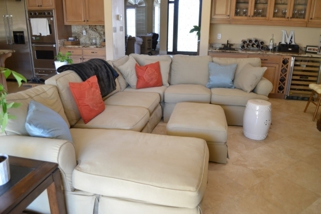 Big Slipcover Sectional Sofa With Chaise And Extension Sofa In Open Kitchen Or Dining Room Photo 28
