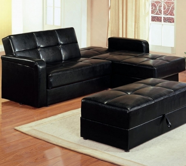 Black Small Corner Leather Sectional Sleeper Sofa With Chaise Image jolenesart38