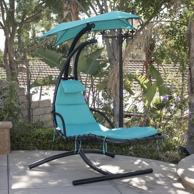 Blue Hanging Chaise Lounge Chair Arc Stand Air Porch Swing Hammock Picture 19