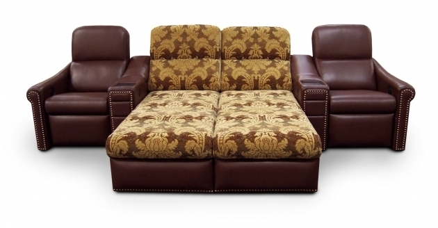 Brown And Yellow Patterned Double Loversized Chaise Lounge Sofa Among Two Brown Leather Chair Photos 06