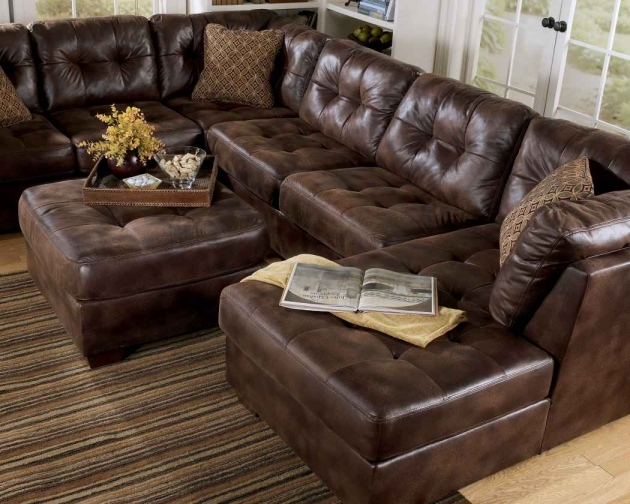 Brown Genuine Leather Sectional With Chaise Pictures 32