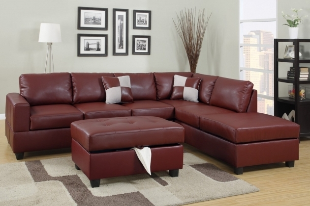 Burgundy Bonded Leather Sectional Sofa With Chaise Reversible Image 31