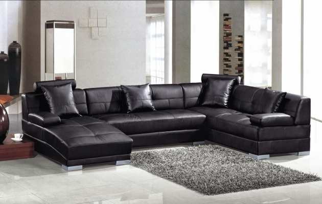 Chaise Lounge Couch Black Leather Photos 03