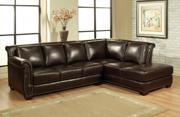 Dark Brown Genuine Leather Sectional With Chaise And Wood Legs On Wooden Laminate Flooring Furniture Images 42