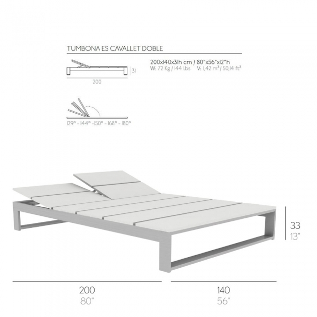 Double Modern Outdoor Chaise Lounge Dimensions Escavallet Gandia Blasco Xl5 Images 45