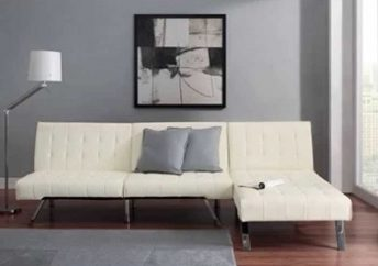 Emily Futon With Chaise Lounger Super Bonus Set Vanilla White Futon With Chaise Lounge Photos 69