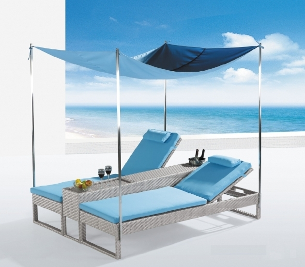 Furniture Outdoor Chaise Lounge Chair With Blu Canopy Ideas And 4 Steel Poster Poles Using Blue Cotton Seat Cover Photos 94