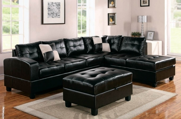 Genuine Leather Sectional With Chaise Best Furniture Black Top Grain Leather Pictures 22