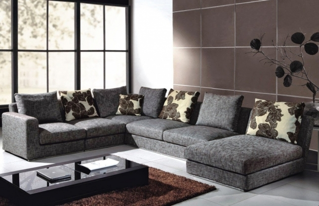 Gray Canvas Deep Sectional Sofa With Chaise Oversized And Track Armrest Added Shabby Chic Cushion And Pillows Picture 97