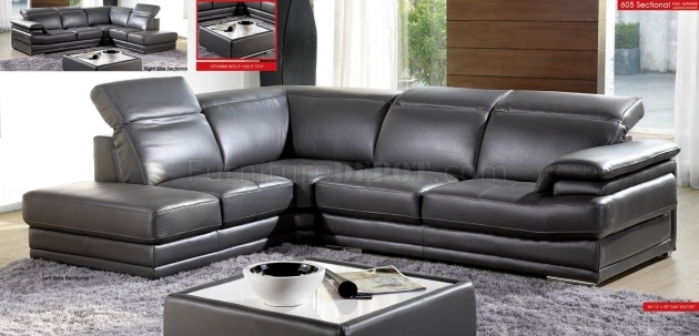 Grey Genuine Leather Sectional With Chaise And Suede Photos 57
