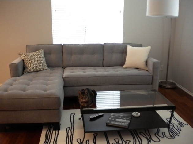 L Shaped Gray Fabric Small Sectional Sofa With Chaise Lounge Furniture Photo 17