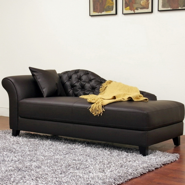 Leather Chaise Lounge Chair With Single Arm Tufted Design Plus Cushion Pictures 15
