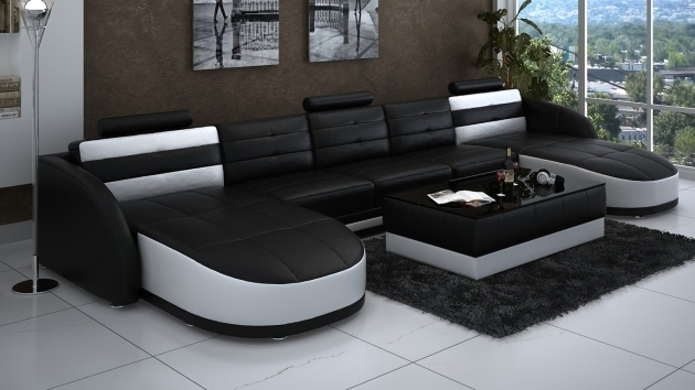Leather Extra Wide Chaise Lounge Sectional In Black And White Plus Rectangle Coffee Table Photos 15