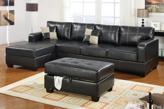 Leather Sectional Sofa With Chaise And Ottoman Furniture L Shaped Black Modular Sofa Picture 57
