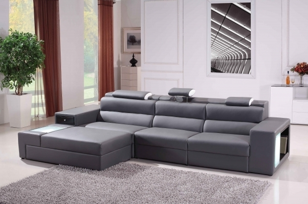 Leather Sectional Sofa With Chaise Durable Living Room Furniture Showing Italian Style Gray And Storage Photos 18