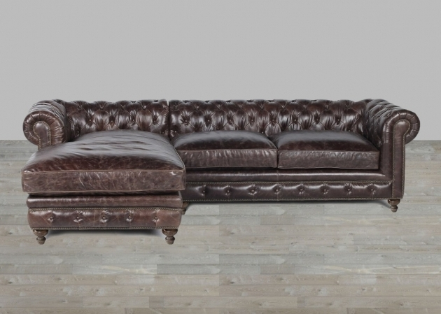 Leather Sofa Chaise Dark Brown Finish With Nailheads Picture jolenesart34