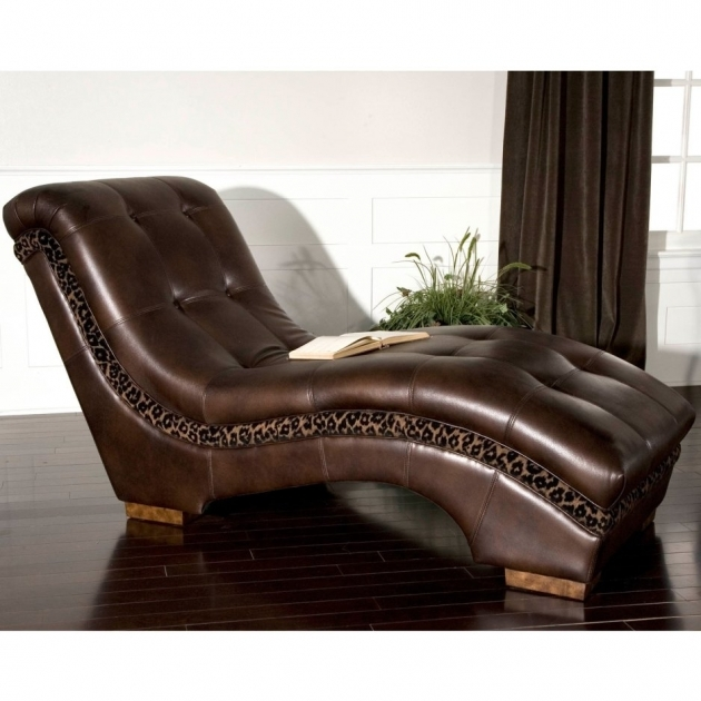 Leopard Print And Brown Leather Chaise Lounge Chair On High Gloss Finish Parquet Floor Pictures 47