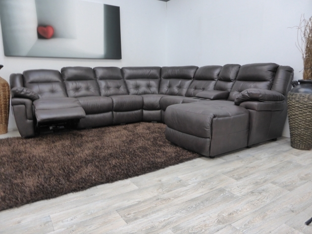 Midcentury Style Gray Leather Reclining Deep Sectional Sofa With Chaise Furniture Images 32