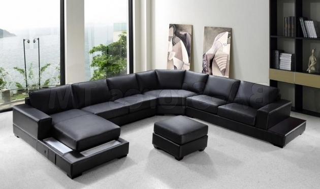 Modern Black Leather Sectional Sofa With Chaise Image 73