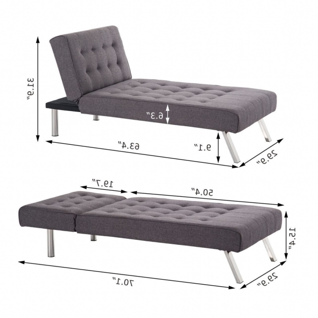 Modern Reclining Futon With Chaise Lounge Sleeper Sofa Gray  Images 38