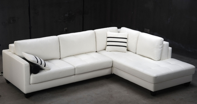Modern White LLeather Sectional Sofa With Chaise And Track Armrest Pictures 44