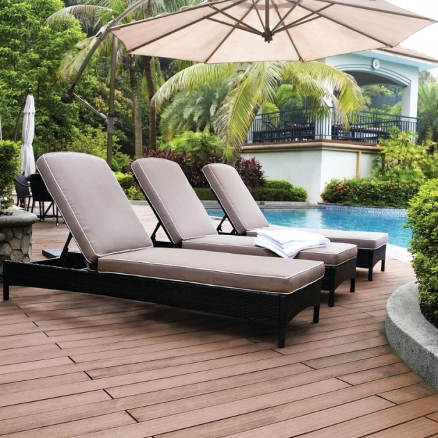 Outdoor Furniture Chaise Lounge Set Rattan Wicker Beige Cushion Outdoor Umbrella Image 52