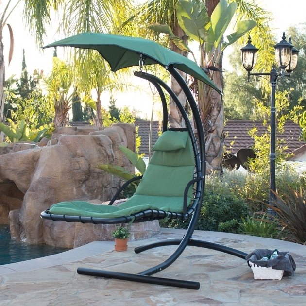 Outdoor Hanging Chaise Lounge Chair Hammock Swing Canopy Glider Image 29