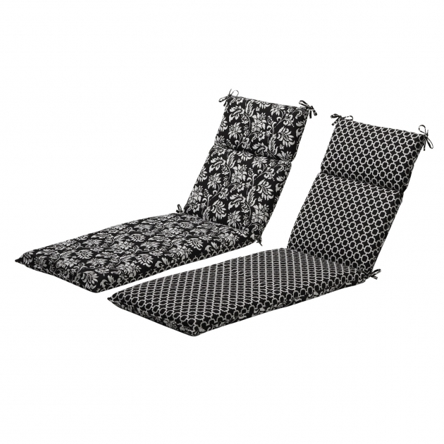 Pillow Perfect Black White Reversible Geometric Floral Outdoor Chaise Lounge Cushion Clearance Pictures 74