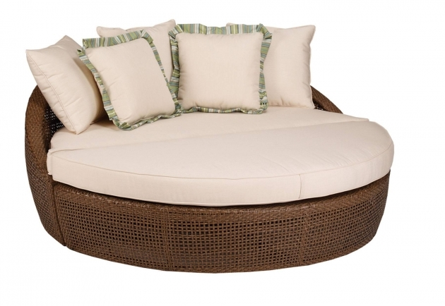 Round Wicker 2 Person Chaise Lounge Indoor With Cushions Photos 73