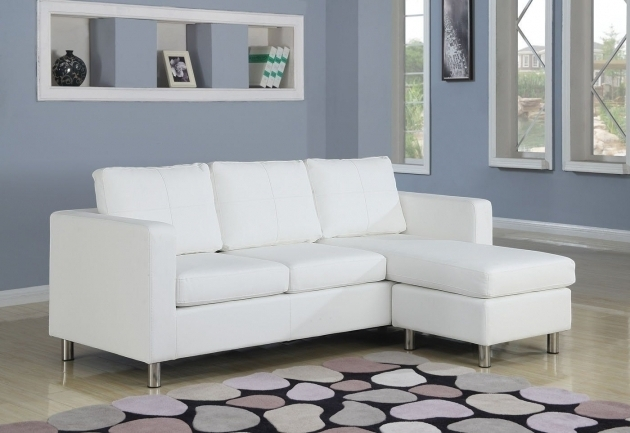 SectionalSmall Couch With Chaise Lounge L Shape White Fabric Sofa Combined With Arm Rest Pictures 04