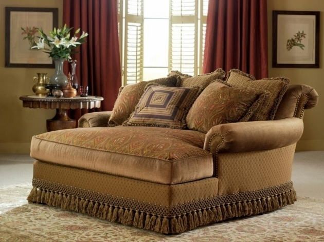 Slipcovers Two Person Chaise Lounge For Bedrooms In Brown Motif Theme Made Of Fabric Two Person Chaise Lounge 16
