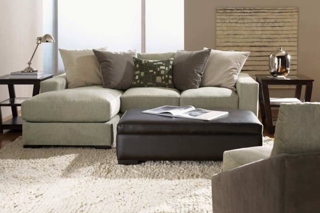 Small Sectional Sofa With Chaise Lounge And Neutral Pillows White Shaggy Rug Ideas Photo 05