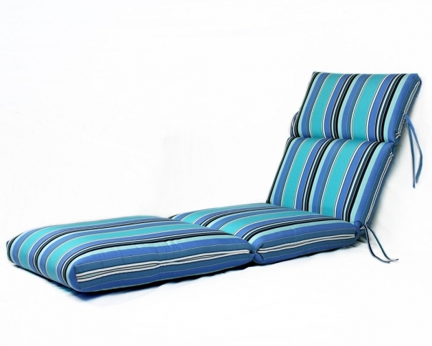 SunbrellaSunbrella Chaise Lounge Cushions Striped Blue Picture 13