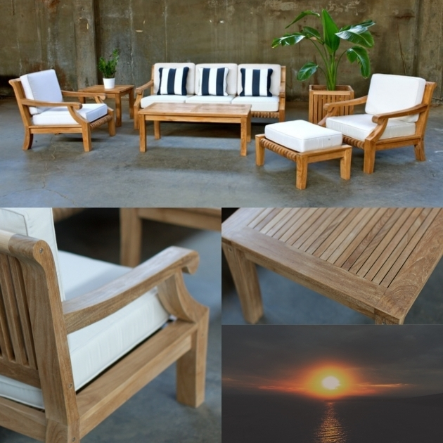 Teak Sofa With White Sunbrella Outdoor Chaise Lounge Cushion Clearance Plus Ottoman Furniture Ideas Photo 06